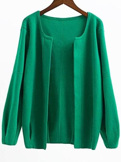Green Open Front Drop Shoulder Loose Fit Cardigan