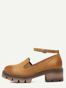 Brown Faux Leather Ankle Strap Elastic Shoes