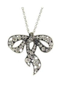 At-Silver Rhinestone Bowknot Pendant Necklace