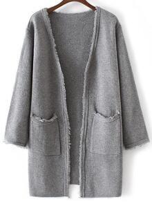 Grey Collarless Frayed Cardigan With Pockets