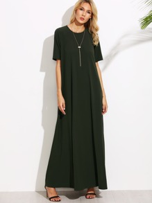 Dark Green Short Sleeve Zipper Back Maxi Dress