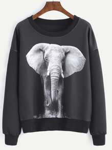 Black Elephant Print Drop Shoulder Sweatshirt