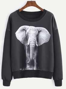 Black Elephant Print Drop Shoulder Sweatshirt