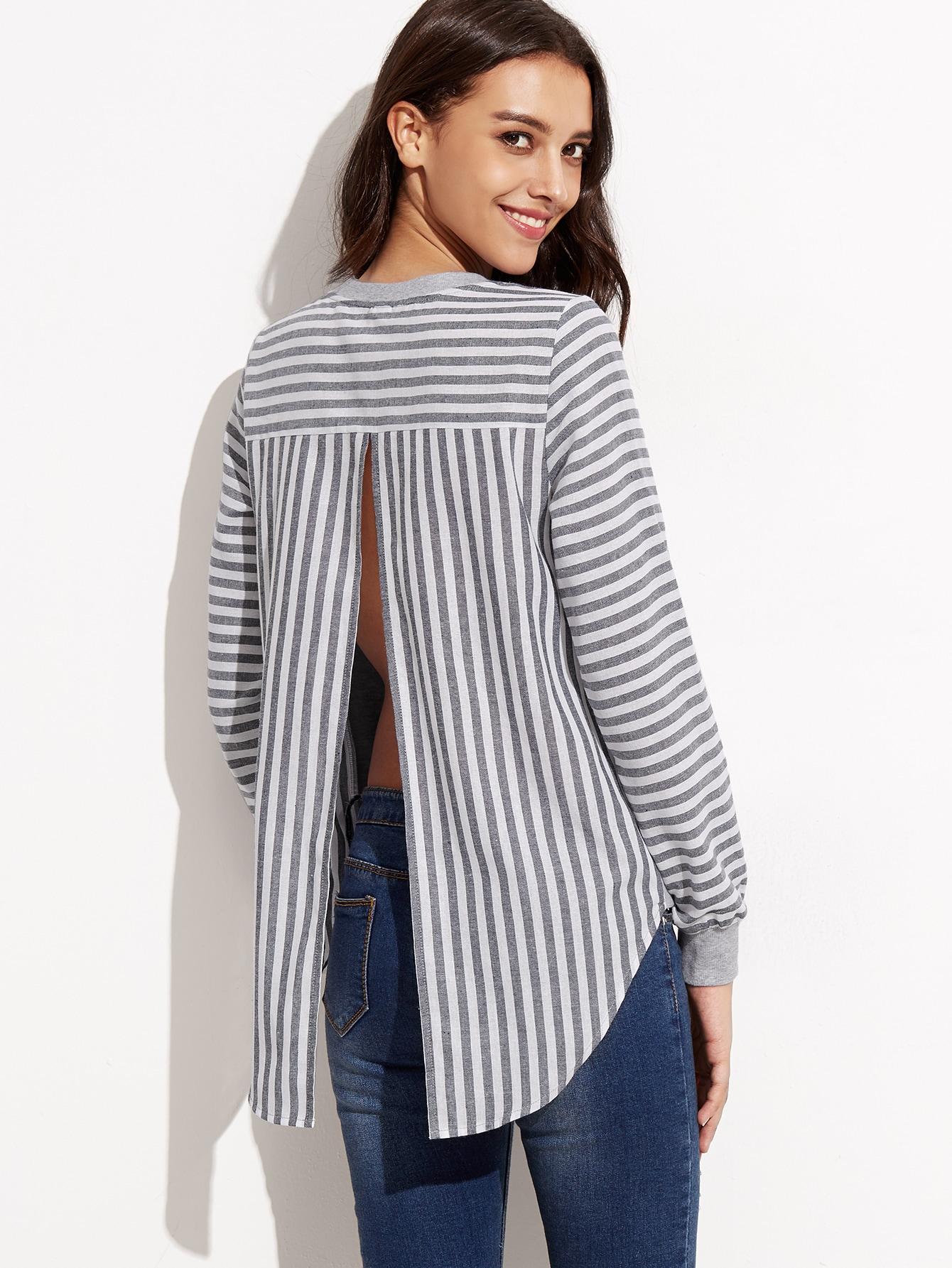 Grey Mixed Media Striped Split Back SweatshirtGrey Mixed Media Striped Split Back Sweatshirt<br><br>color: Grey<br>size: L,M,S,XS