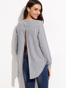 Grey Mixed Media Striped Split Back Sweatshirt