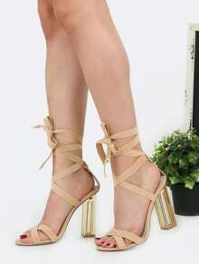 Clear Heel Suede High Heels NUDE