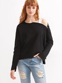 Black Slit Side Dip Hem Zipper Hooded Sweatshirt