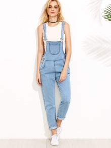 Blue Patch Pocket Overall Jeans
