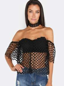 Crochet Net Flutter Crop Top BLACK