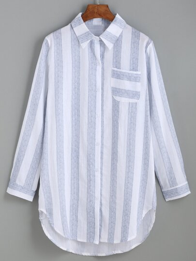 Blue Vertical Striped Curved Hem Blouse