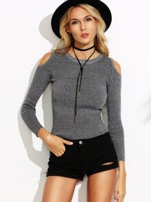 Grey Open Shoulder Ripped Sweater