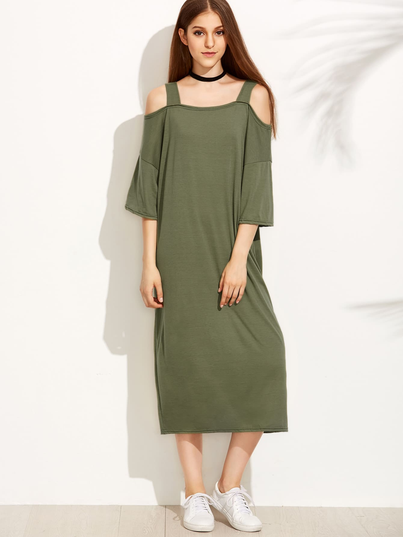 Cold Shoulder Wide Straps Tee Dress цена 2017