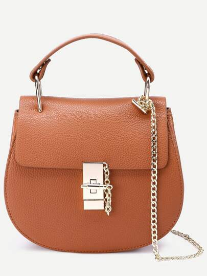 Brown Faux Leather Chain Saddle Bag