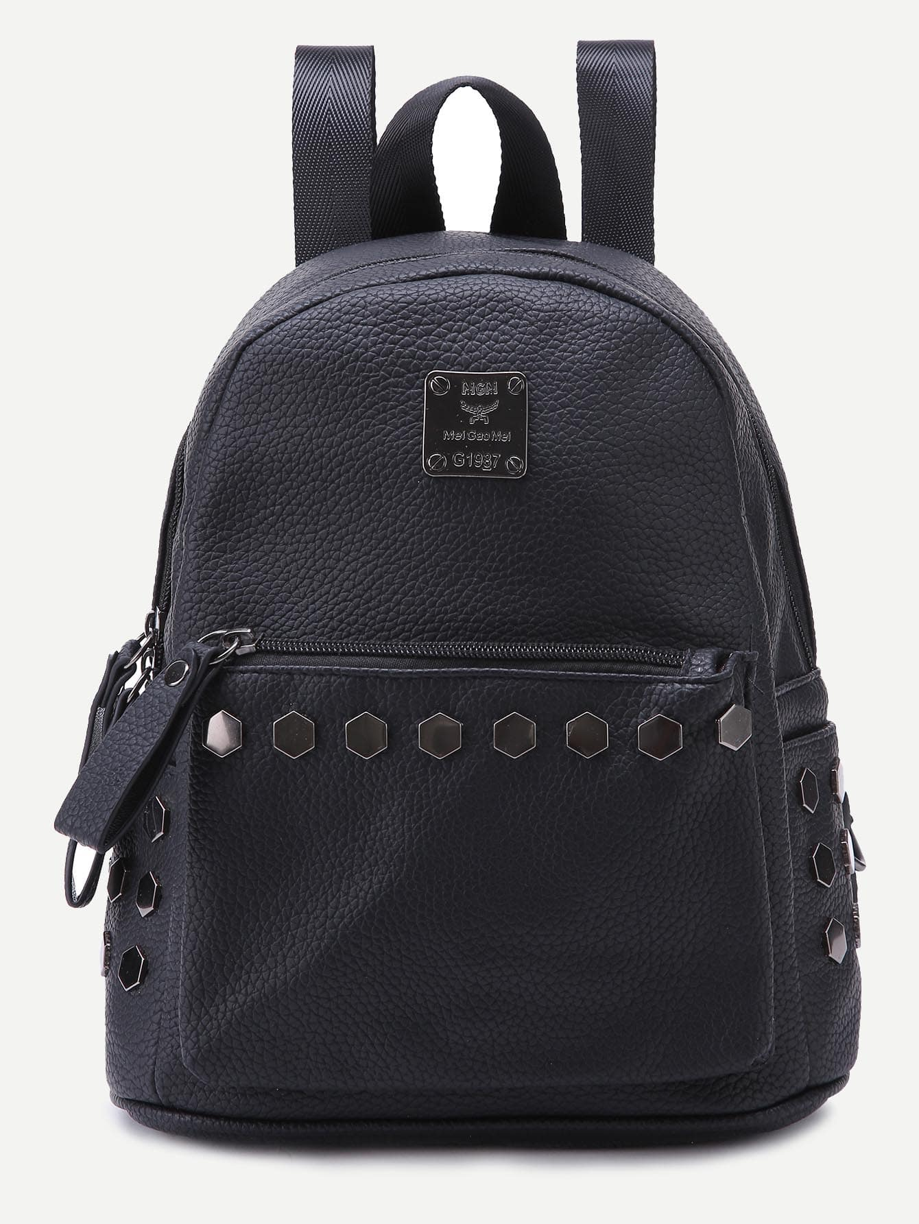 Faux Leather Studded BackpackFaux Leather Studded Backpack<br><br>color: Black<br>size: None