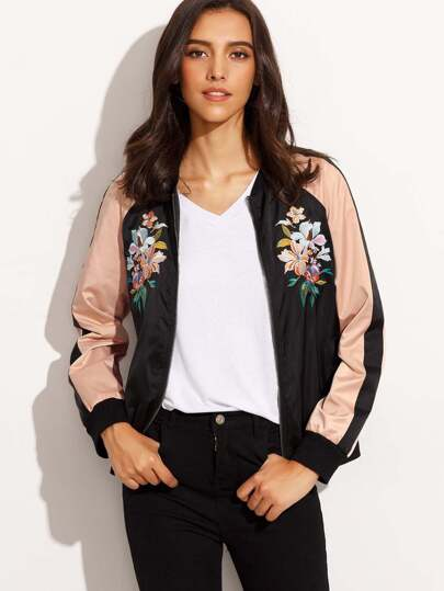 Color Block Embroidered Zipper Front Long Sleeve Jacket