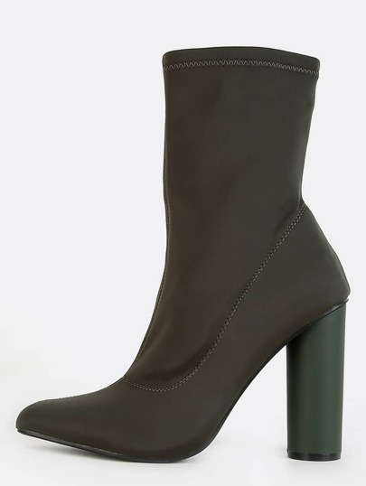 Pointy Toe Cylinder Heel Boots OLIVE