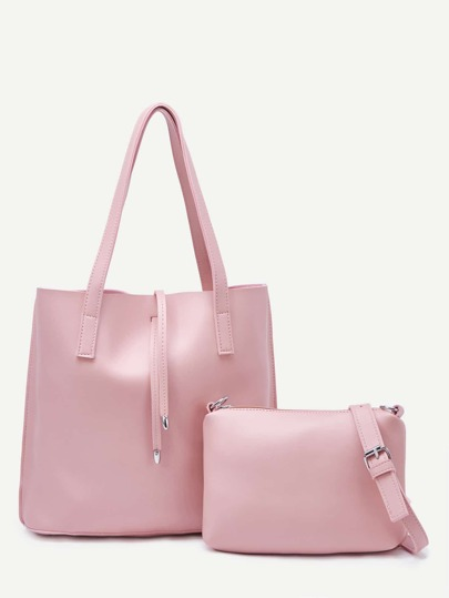 Pink Tote Bag With Crossbody Bag
