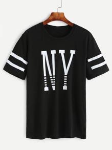 T-shirt imprimé lettres à rayure manche courte - noir