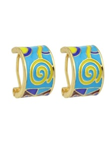 Blue Enamel Geometric Earrings