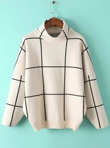 White Grid Drop Shoulder Turtleneck Sweater