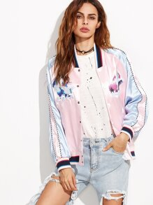 Pink Embroidery Color Block Denim Back Jacket