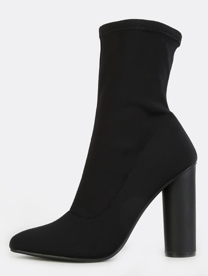 Pointy Toe Cylinder Heel Boots BLACK