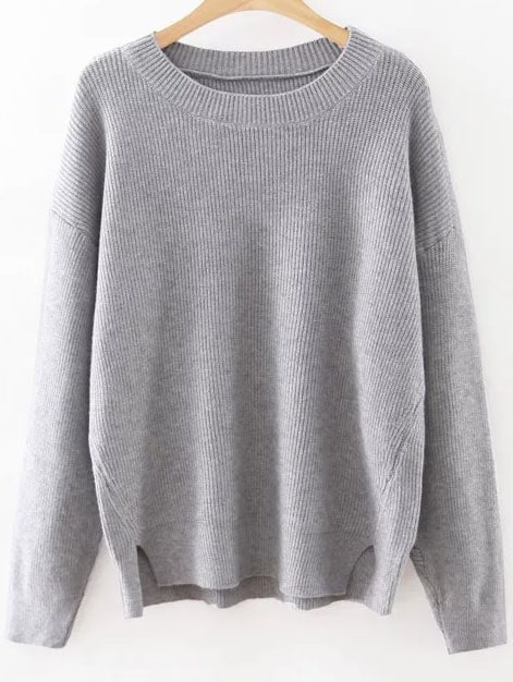 Grey Round Neck Ribbed Split Side Knitwear sweater160815220