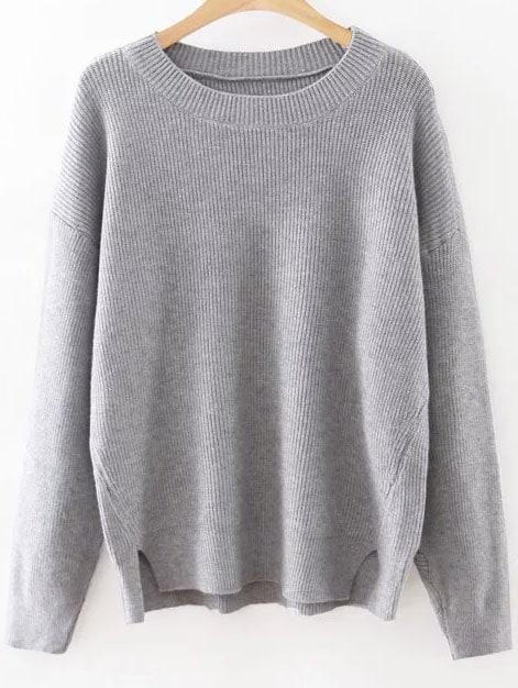 Grey Round Neck Ribbed Split Side Knitwear sweater160815220