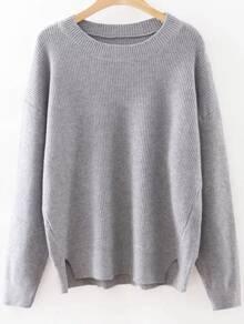 Pull tricoté à côte col rond manche longue - gris