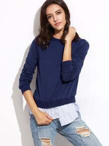 Navy Asymmetric Shirt Hem 2 In 1 Sweatshirt