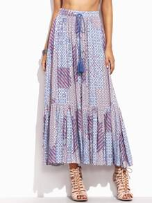 Print Drawstring Waist High Split Ruffle Skirt