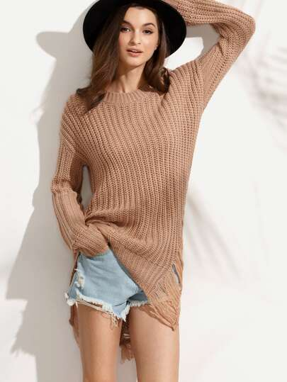Camel Drop Shoulder Ripped High Low Long Sweater