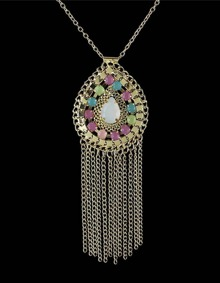 Rhinestone Long Tassel Necklace