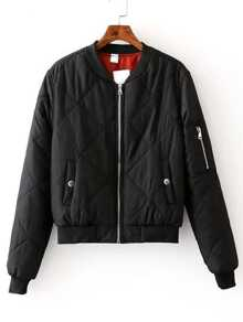 Black Zipper Up Quilted Padded Bomber Jacket