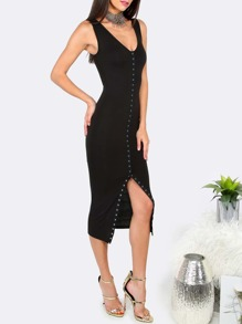 Black V Neck Button Front Sheath Dress