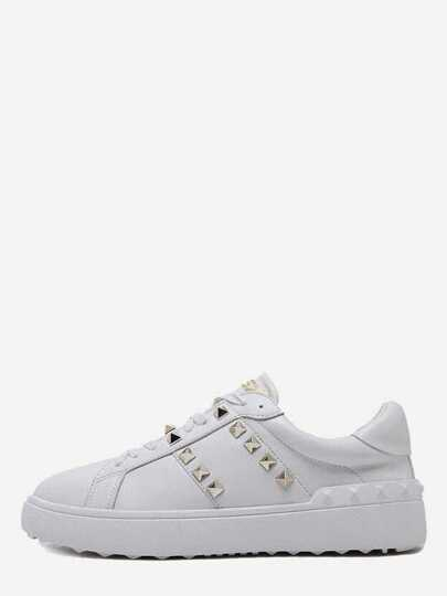 White Faux Leather Lace Up Studded Sneakers