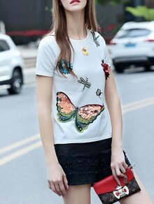 White Flowers Applique Beading Sequined Knit Sweatshirt