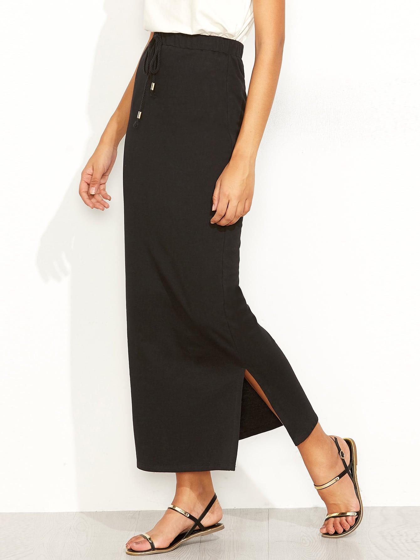 Фото Drawstring Waist Slit Pencil Skirt. Купить с доставкой