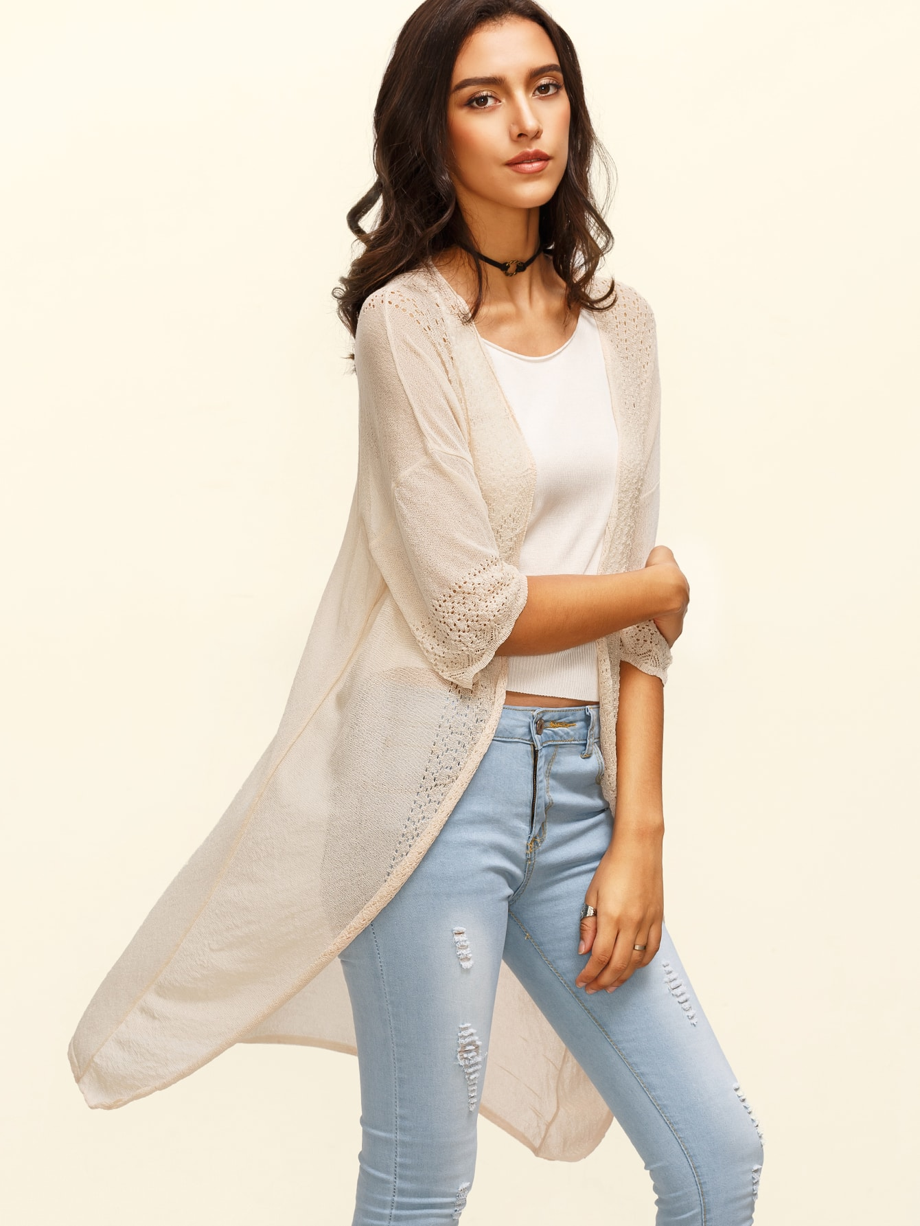 Apricot Three Quarter Sleeve Long CardiganApricot Three Quarter Sleeve Long Cardigan<br><br>color: Apricot<br>size: one-size