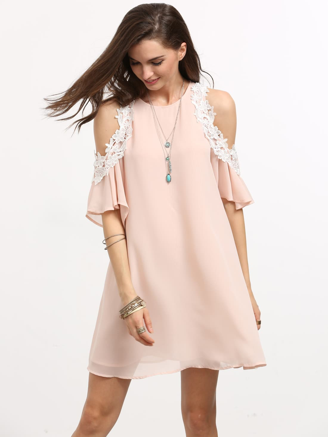 Pink Cold Shoulder Shift Dress dress160609704