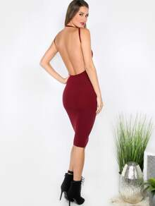 Burgundy Crew Neck Backless Sleeveless Sheath Dress