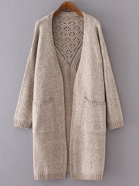 Khaki Drop Shoulder Eyelet Pockets Cardigan sweater160813233