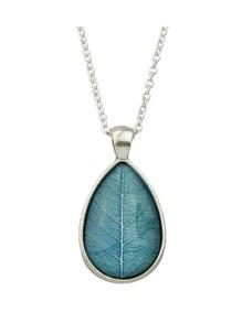 Blue Simple Model Rhinestone Leaf Shape Pendant Necklace