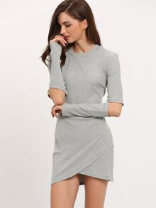 Grey Cut Out Sleeve Bodycon Dress