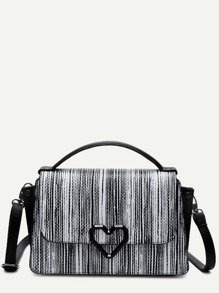 Black And White PU Stripes Quilted Flap Bag