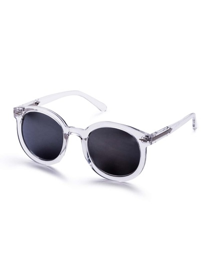 White Clear Frame Metal Arrow Retro Style Sunglasses