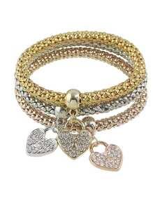 Elastic Rhinestone Heart Charms Chain Bracelet