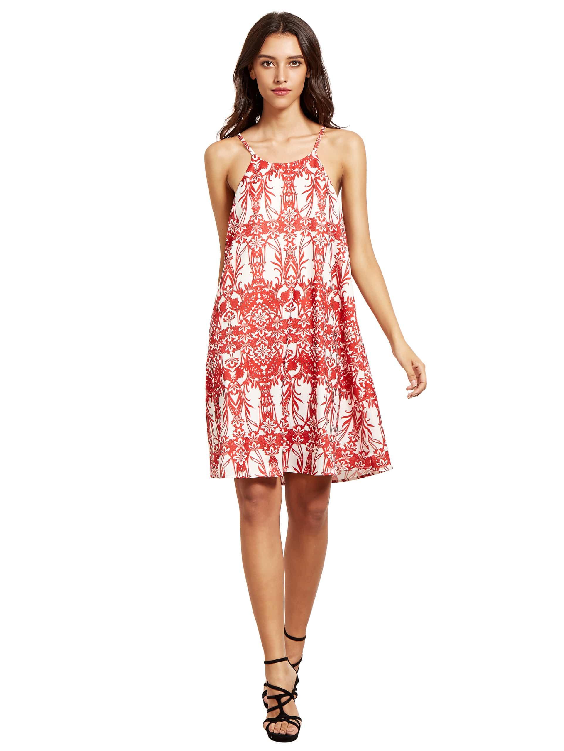 Фото Floral Printed Spaghetti Strap Shift Dress. Купить с доставкой
