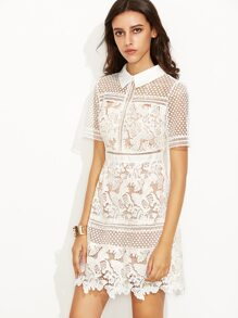 White Crochet Lace Overlay Shirt Dress