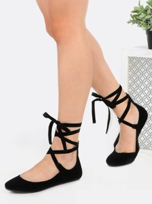 Tie Up Round Toe Ballet Flats BLACK
